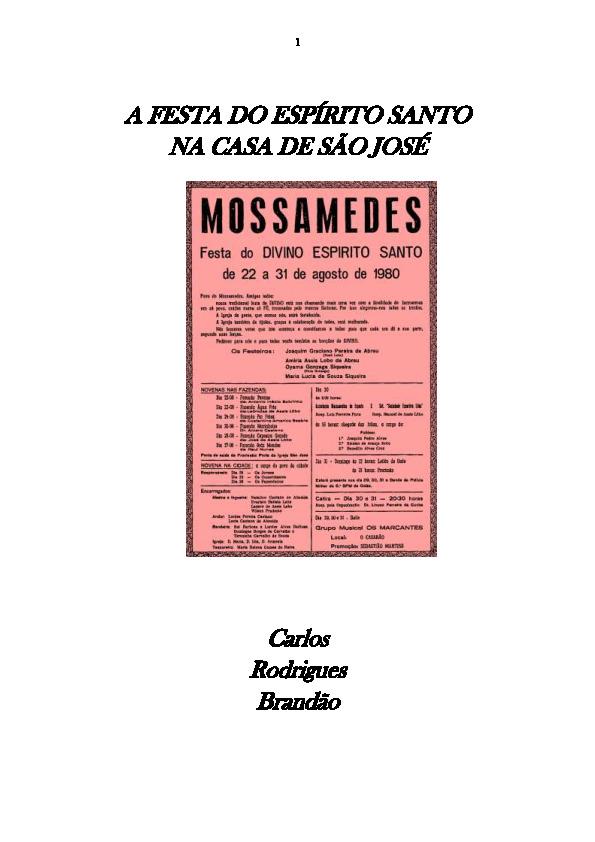 Capa de Livro: A Festa do Espírito Santo na Casa de São José