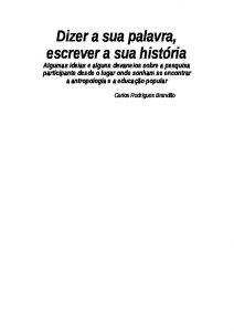 Capa de Livro: Dizer a sua palavra, escrever a sua história